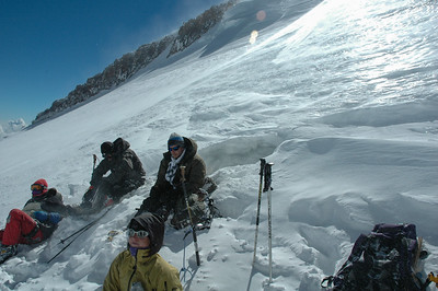 Resting on the slopes of Mt Elbrus, 2006