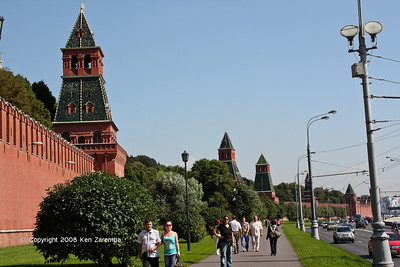 Russian Kremlin wall and towers on the South side of the Kremlin, Moscow