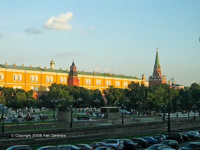 Alexander Gardens on the Southern side of Manege Square, Moscow. The Kremlin in the background.
