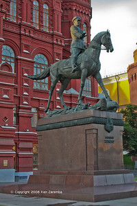 Equestrian statue of Marshal Georgy Zhukov at the Manege Square, Moscow, by Vyacheslav Klykov, 1995.