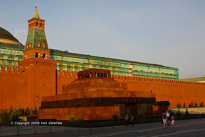 Lenin's Tomb in Red Square, and the Tsarskaya Tower on the Kremlin Wall
