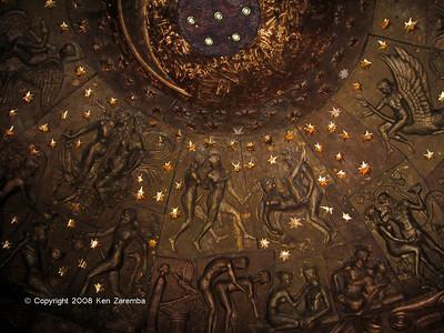 "Zurab Tsereteli's Art Gallery Kama Sutra positions in interior ceiling of  ""The Apple"""