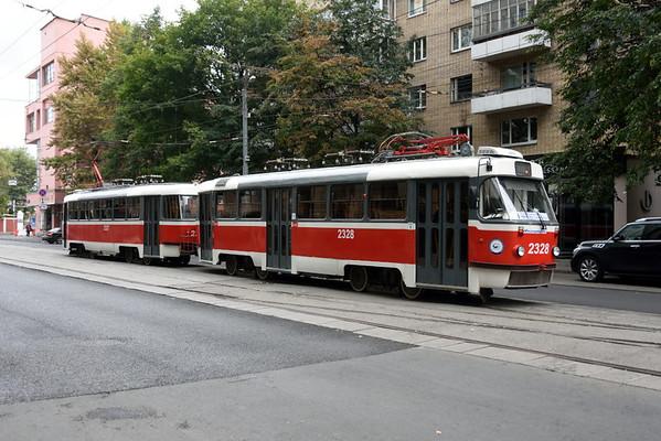 Tatra tram 2328, Lesnaya Street, Moscow, Sun 30 August 2015.