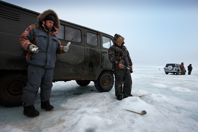 Fishermen on the ice outside Magadan.