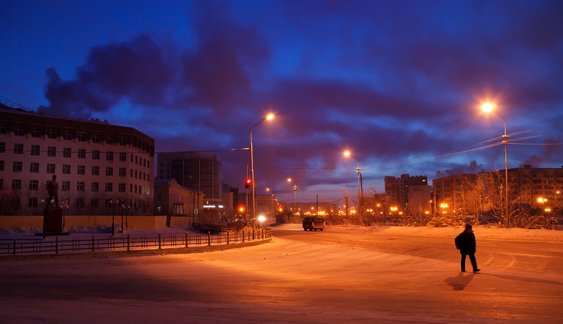 Yakutsk streets in the early morning