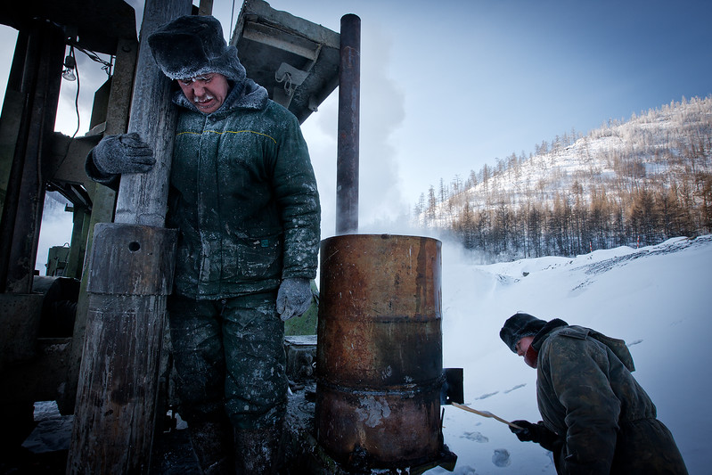 Goldminers in -51 degrees Celsius.