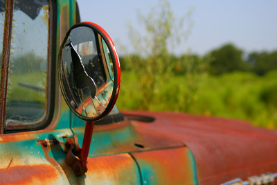 Rusty Ford 350 Truck Mirror Southern transportation comes in all forms. From tractors to mules, from trains to boats!