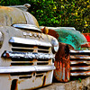 This and five frames following, shells of 1940s and 1950s pickup trucks found in salvage yard, Geyserville, CA. Special graphic effects applied. [UFP030310]