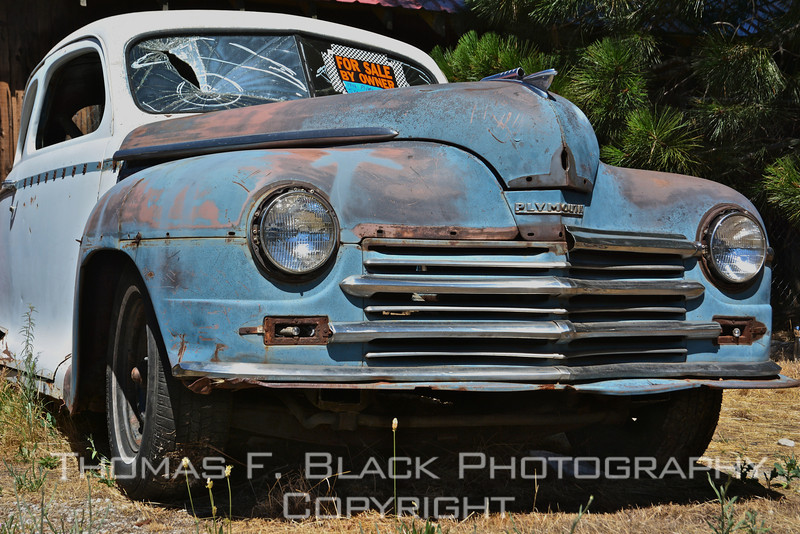 This and six frames following, 1946 Plymouth coupe, Quincy, CA. [UFP070613]