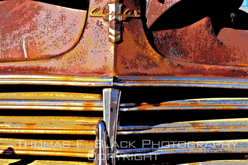 """This and four frames following, deserted 1940s Chrysler sedan, """"ghost town"""" of Shaniko, OR. Special graphic effects applied. [UFP102010]"""