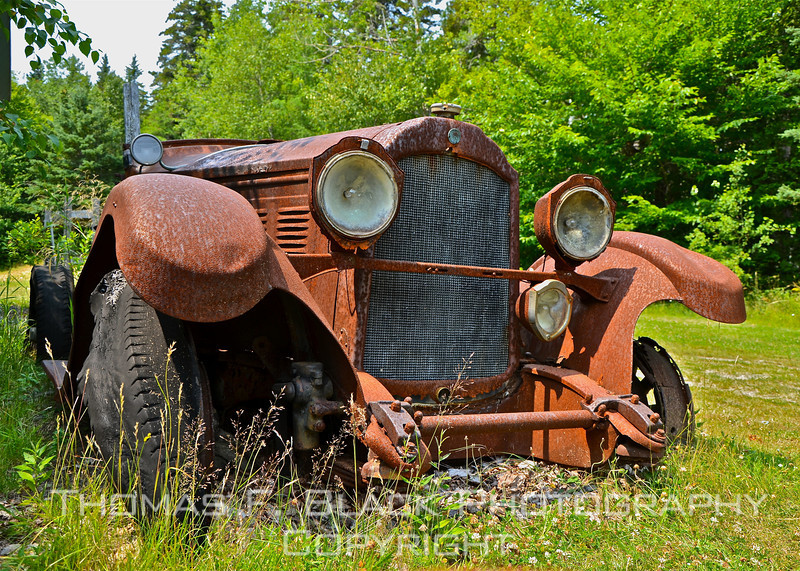 This and six frames following, Willys Knight, permanently parked outside Seal Cove Auto Museum, Seal Cove, ME. [UFP072011]