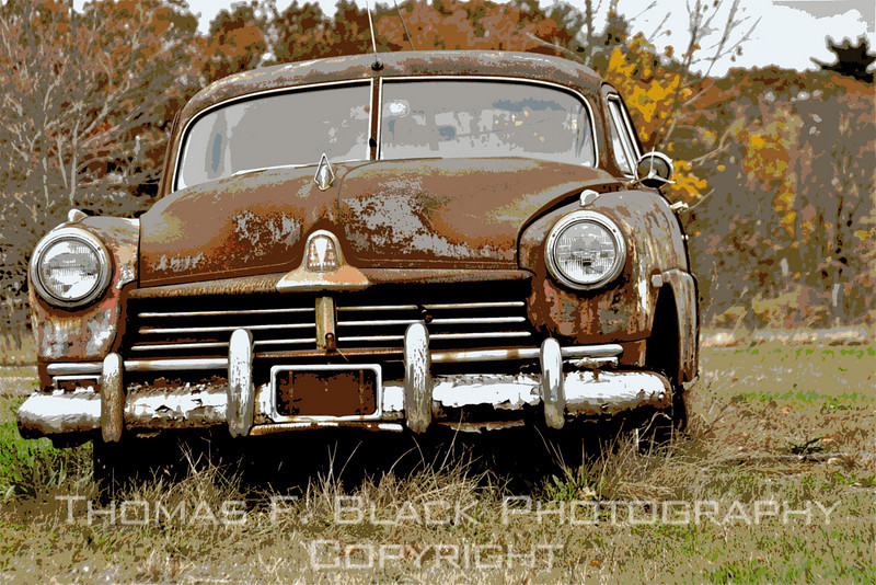 This and four frames following, c. 1950 Hudson sedan, Bellingham, MA. Special graphic effects applied. [UFP110210]