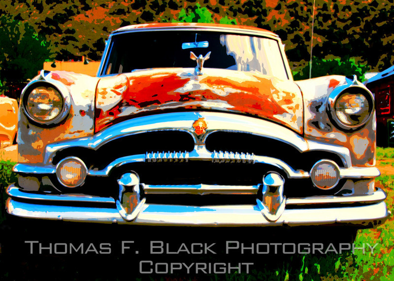 This and four frames following, 1954 Packard Patrician (top of the line) sedan, Embudo, NM, north of Santa Fe. Special graphic effects applied. [UFP 051009]