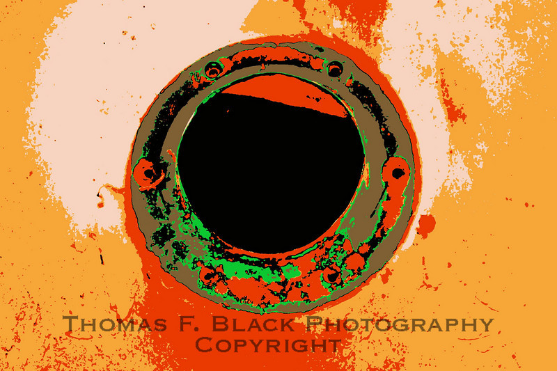 Close-up of spare-tire mount hole. Special graphic effect applied. [UFP 101209]