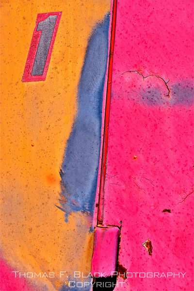 """This frame and next, retired 1950s Chevrolet truck, Hwy. 26, north of Bend, OR. Special graphic effect applied to both. View is of fore portion of driver door and aft of front fender panel. Numeral """"1"""" is decal. [UFP101810]"""