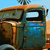 This and 20 frames following, long-abandoned Ford truck -- minus front end -- Rush Ranch, Solano County, CA. (Windmill was actually there.) [UFP 0815090]