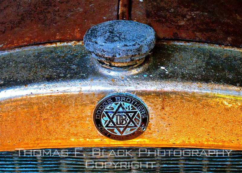 """Top of grille and radiator cap. Note that emblem reads """"Dodge Brothers,"""" original name of company. [UFP072410]"""