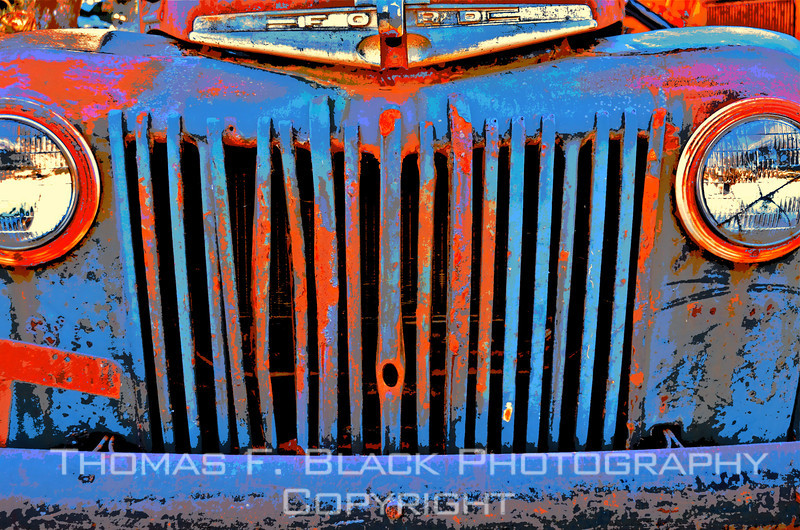 This and 10 frames following, 1940s Ford pickup, Pope Valley Road, Napa County, CA. Special graphic effects applied. [UFP011512]
