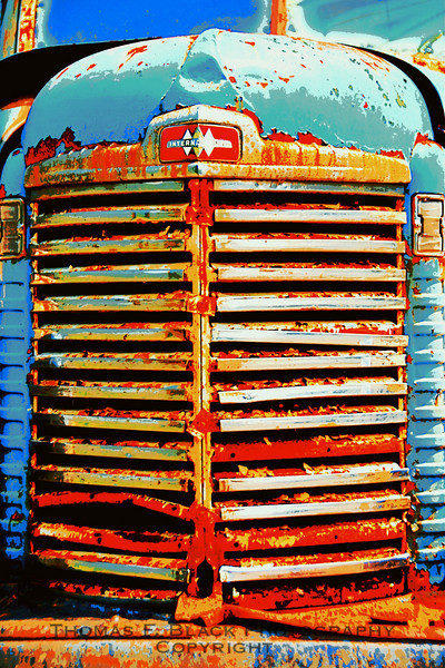 This and two frames following, castoff 1950s International Harvester farm truck, central Massachusetts. [UFP 073009]