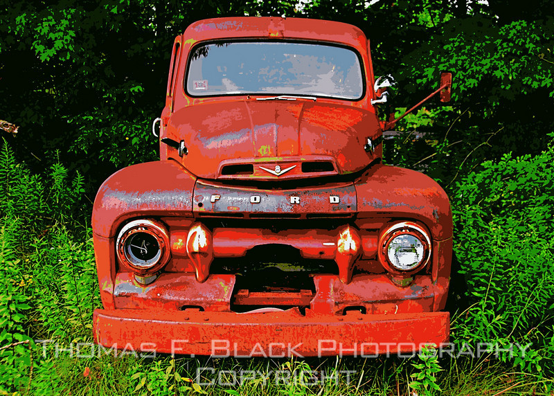 "This and five frames following, weed-embedded 1952 Ford fire engine, once faithfully rendering service in Lancaster, MA, and environs. In faded lettering, door panel reads ""Engine 4."" Odometer reads 11,000 miles.  [UFP 073009]"