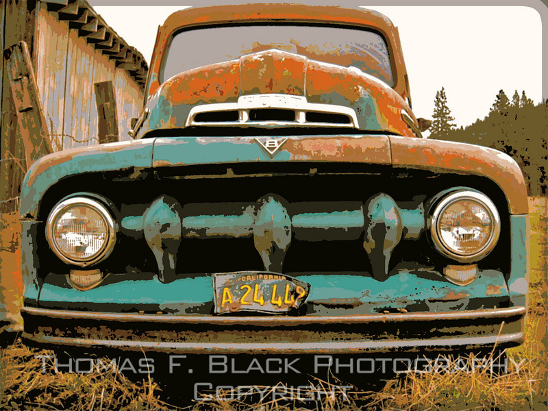 This and frame following, 1950s Ford pickup, Sierraville, CA. Special graphic effects applied. [UFP111410]