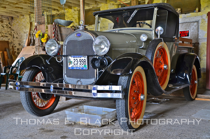 Beautifully restored 1929 Model A Ford pickup garaged in historic Old Stone Barn, Bar Harbor, ME. [UFP071911]