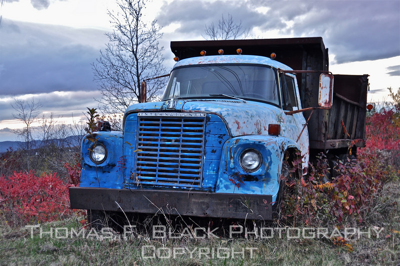 This and two frames following, dumped old International Harvester dump truck, Hwy. 7, south of Burlington, VT. [UFP102810]