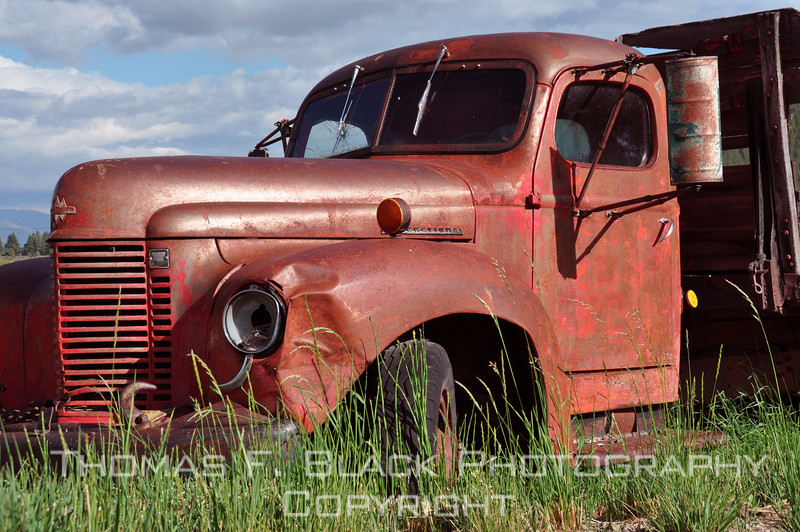 This and two frames following, orphaned 1946 International Harvester one-ton flatbed, Hwy. 70, Sierra County, CA. [UFP062510]