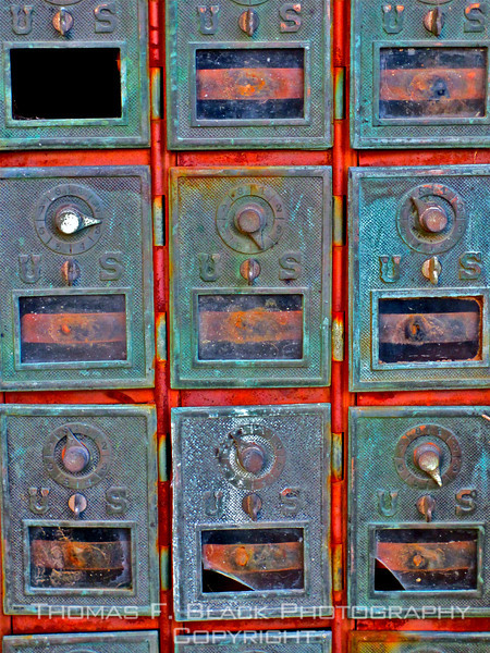 Bank of old postal boxes, Napomo, CA. [UFP060212]