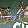 1950s Schwinn bicycle suspended from overhang of barn, Sonoma County, CA. [UFP030310] rustic relics, rustic relics pictures, rustic relics photos, rural americana, rural americana pictures, rural americana photos