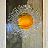 On front door of old, abandoned house, Merced County, CA. It's a decal. [UFP071011]