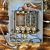 """Exposed fuse box, """"ghost town"""" of Shaniko, OR. [UFP101810]"""