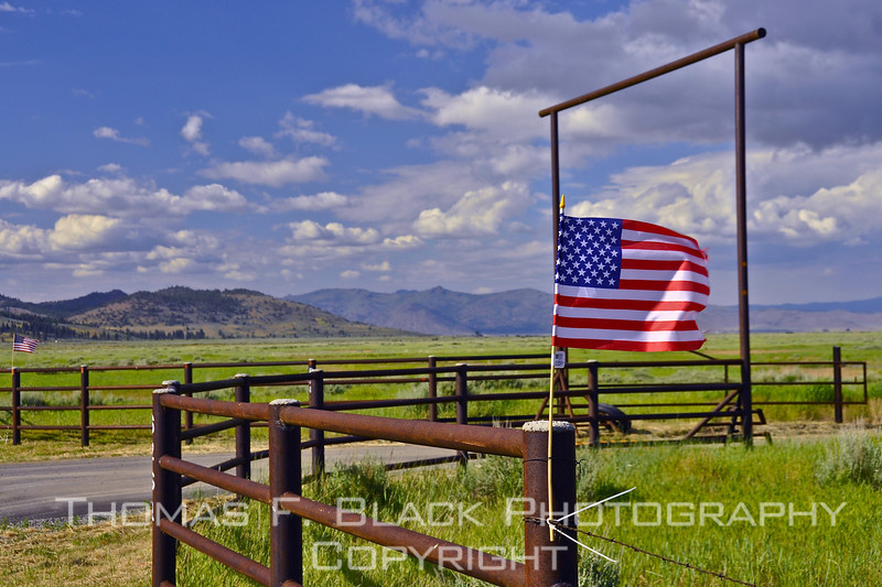 Old Glory in all her glory. Entrance to cattle ranch on Hwy. A23, Plumas County, CA, celebrating Memorial Day with not one but two flags unfurled in wind. [UFP062510]