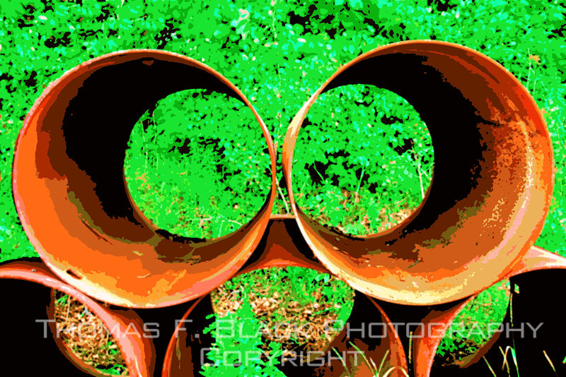 Stack of drain pipes in corporation yard, central Massachusetts. [UFP 073009]