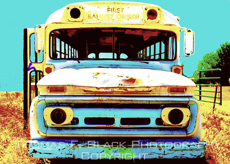"This and nine frames following, deserted church school bus, Espanola, NM. Lettering above windshield reads, ""First Baptist Church."" [UFP 051209] . old buses, old bus pictures, old bus photos, old school buses, old school bus pictures, old school bus photos, rusted relics, rusted relics pictures, rusted relics photos"