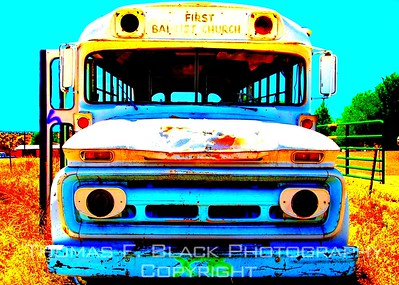 School & Church Buses ~ Old, rusted, derelict, abandoned buses.