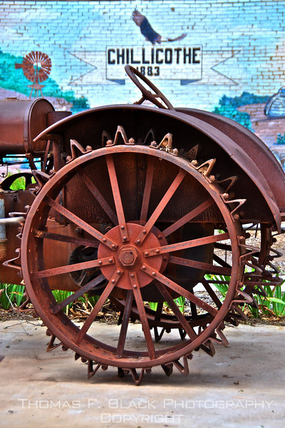 Antique tractor on display in pubic park, Chillicothe, TX. [UFP062910]