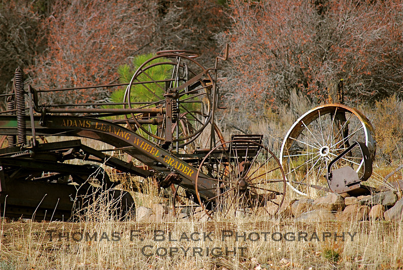 "Inscription reads, ""Adams Leaning Wheel Grader,"" Hwy. A23, Sierra County. [UFP 111008]"