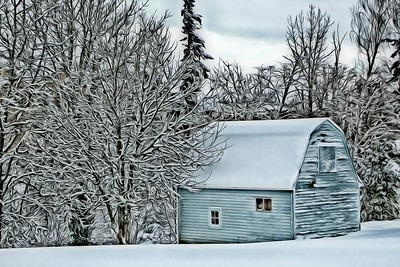 Blue Barn and Snow