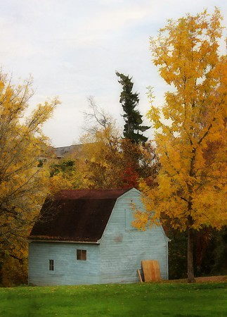 Blue Barn and Fall