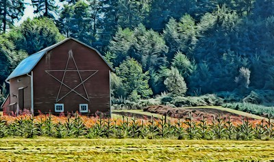 The Red Barn with Star