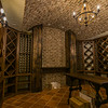 Barrel vaulted ceiling in the wine room.