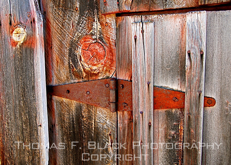 Barn, Plumas County, CA. Note that hinge is boarded over. [UFP 071209]