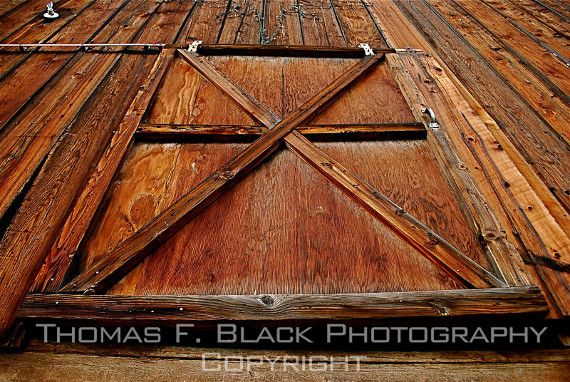 Detail of exterior barn door, Hwy. 70, Plumas County, CA. Barn burned to ground eight months after photo taken.[UFP 111008]