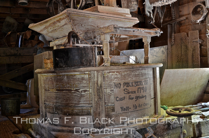 "Sign reads, ""No price increase since 1790 [year mill founded]. Cost for grinding toll 1/8 of corn."" [UFP050611]"