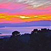 Sunset over San Francisco Bay. View west from Grizzly Park Road in Oakland hills. [UFP102311]