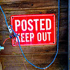 "Barn, Contra Costa County, CA. Blue string is electrical cord, connected to plug next to left of letter ""P."" [UFP 032709]"