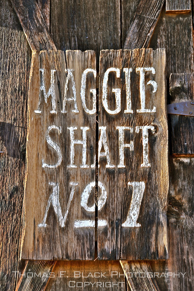 Sign at Calico Ghost Town, onetime thriving silver-mining community, Draggett, CA. [UFP070310]