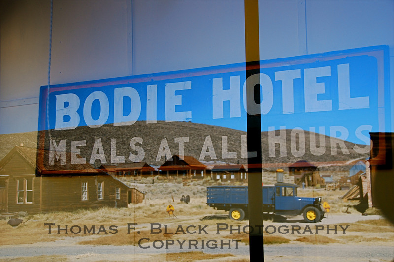 Reflection from window in Bodie Hotel, which closed when the entire town of Bodie, CA, was vacated in 1938. The remained the only hotel in town since it was settled by gold prospectors in 1859. At one time it boasted a population of 10,000. [UFP 101109]