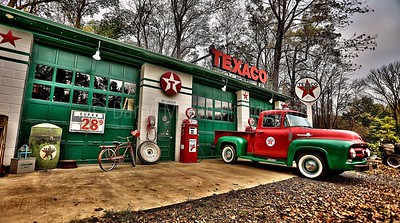 Vintage Texaco Station, Truck and Bike